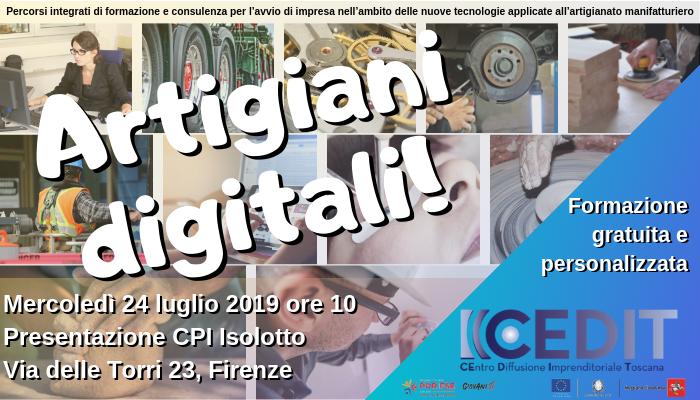 Artigiani Digitali, presentazione al CPI Isolotto il 24 luglio