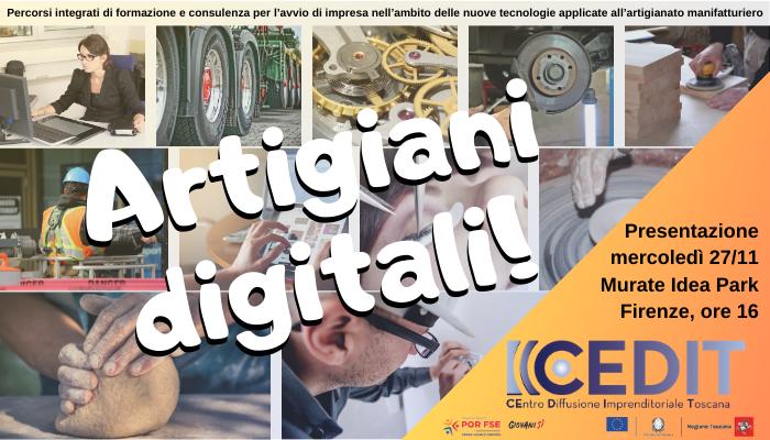 """""""Artigiani Digitali"""", presentazione il 27 novembre al Murate Idea Park"""