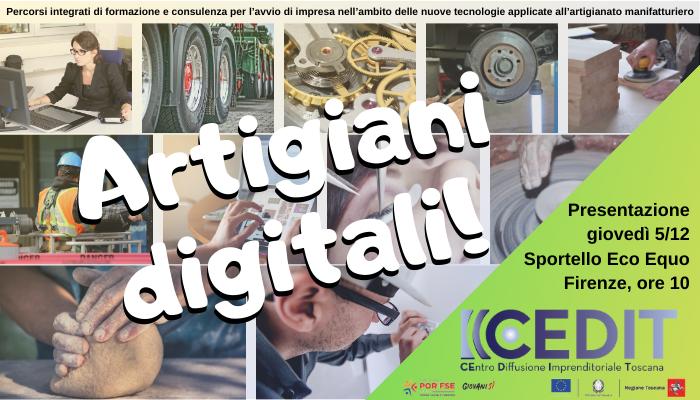 """""""Artigiani Digitali"""", seminario di presentazione allo sportello """"Eco Equo"""" il 5 dicembre"""